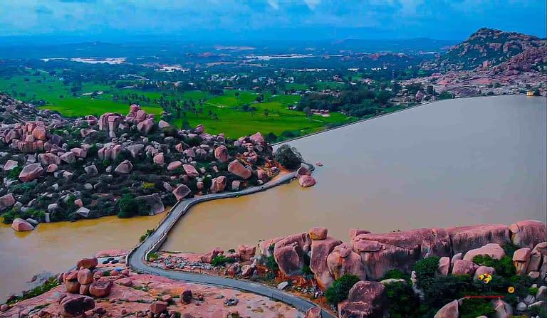 Hampi Drone View- Lake Sanapur_Hippie Island